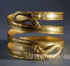 Ancient Greece. Spiral gold bracelet, Italy. Goldsmith art. Greek civilization, Magna Graecia.