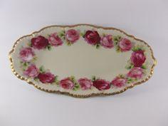 Victorian Bavarian German Old Ivory Porcelain Celery Dish Handpainted Roses Gilt