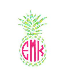 Monogrammed Pineapple Lilly Pulitzer Inspired Vinyl Sticker ONLY $7!!! So cute for the car!