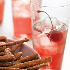 Pomegranate Soda recipe from Martha Stewart Holiday Drinks, Party Drinks, Cocktail Drinks, Fun Drinks, Christmas Drinks, Mixed Drinks, Cocktail Recipes, Martini Party, Cocktail Ideas
