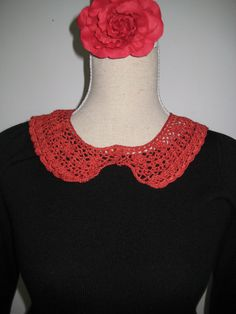 Collar Red Tomato Cotton Crocheted diameter by MinnieCreation, €25.28
