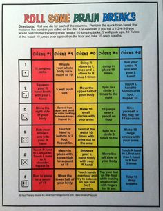 Free Brain Breaks for classroom - roll the die and perform an activity from each column. Activities encourage bilateral coordination, motor planning, gross motor skills and sensory integration. Great for in class activity or for indoor recess. by mara Classroom Behavior, Future Classroom, School Classroom, Classroom Activities, Classroom Organization, Classroom Management, Activities For Kids, Movement Activities, Motor Activities