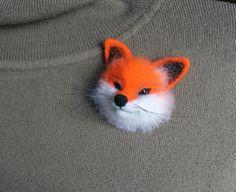 Fox Felt Brooch Needle felted brooch Fox totem by MarigaFelt