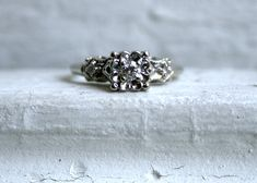 Lovely Vintage 14K White Gold Diamond Three Stone Engagement Ring.