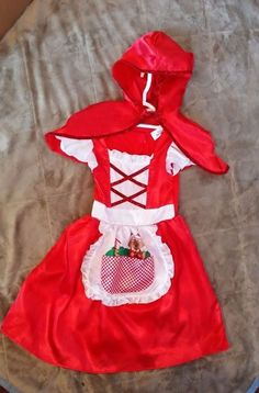 Little Girls Fairy Tale Red Riding Hood Halloween Costume Dress w Cape 4-6 #DreamDazzlers #CompleteOutfit