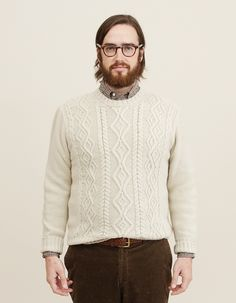 Inis Meain Aran Crew Neck Cable Sweater