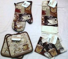Coffee Theme Home Kitchen Towel Oven Mitt Dishrag Pot Holder Interior 6 Pc Set