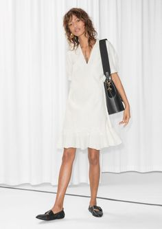 & Other Stories Frill Hem Cotton Dress in White