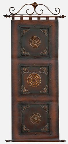 Old World Tuscan Leather Wall Hanging Scroll Topper Metal Embossed Accents