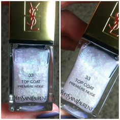 YSL Holiday Collection Premiere Neige Top Coat swatches with different nail polishes. #YSL #nails #manicure #holiday2012 #makeup