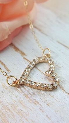 Gold Heart Rhinestone Simple Dainty Everyday Necklace