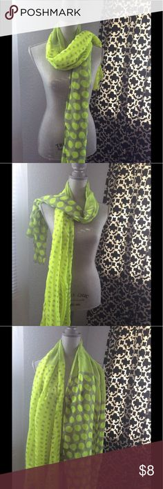 Neon green scarf with gray polka dots 🌹 60% polyester, 40% cotton. 26 inches wide x 70 inches long.  Please consider 1.  Item is used and has no stains, rips or tears unless otherwise stated.    2.  I have fur babies and at times an item may have few or no hair of my little critters, although I try my best and usually succeed at getting them off, I might miss an area. Accessories Scarves & Wraps