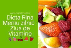 Dieta Rina Meniu zilnic: Meniul pentru masa de pranzul si cea de la cina alterneaza in Dieta Rina din 4 in 4 zile, astfel: proteine, amidon, carbohidrati si vitamine. Ordinea celor 4 zile trebuie neaparat respectata pe toata durata dietei.