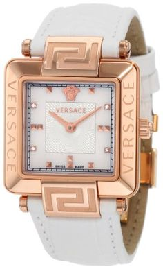 Versace  Versace Reve Carrè Rose-Gold Plated Mother-Of-Pearl Diamond Leather Watc