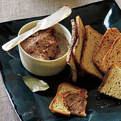 Quick Liver Pâté Recipe by Cooking Light - I have been dying to make this recipe! It features dried cherries, bacon, cognac, cream cheese and liverwurst - and is quick and easy to make.  Great reviews...Looks and sounds divine!