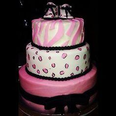 #SassysSweets #BabyShower #Cake #Leopard Print, #Zebra Print, #Fondant #Bow #BabyGirl