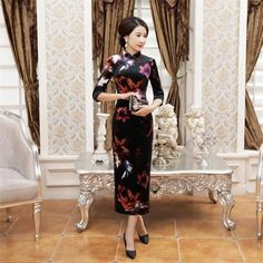 High Quality Chinese Style Women's Velvet Qipao Cheongsam Lady Spring Casual Floral Dress Plus Size S M L XL XXL XXXL 4XL T0051
