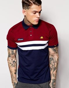 Shop ellesse Color Block Long Sleeve Rugby Polo Shirt In Red at ASOS. Sports Polo Shirts, Polo Shirt Brands, Mens Polo T Shirts, Tennis Shirts, Polo Shirt Women, Polo Shirt Style, Polo Shirt Outfits, Polo Shirt Design, Camisa Polo