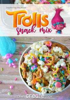 Troll Party Snack Mix : Dance, Hug and Sing your way to making this Troll Party Snack Mix! Dance, Hug and Sing your way to making this Troll Party Snack Mix! Trolls Birthday Party, Troll Party, 3rd Birthday Parties, 2nd Birthday, Kids Birthday Snacks, Birthday Ideas, Snacks Für Party, Party Party, Kids Meals