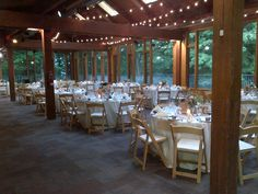 Reception in the Forest Gallery Wedding Receptions, Reception Ideas, Cottage Wedding, Wedding Decorations, Table Decorations, Rustic Cottage, Outdoor Events, Glass House, Wedding Inspiration