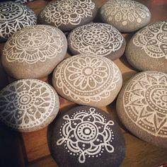 Mandala meditation stones by vonsky. Vonskyart.etsy.com