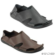 f22144c9 Details about Mens Soft Real Leather Light Weight Shoes Summer Mules  Sandals Black Brown Size