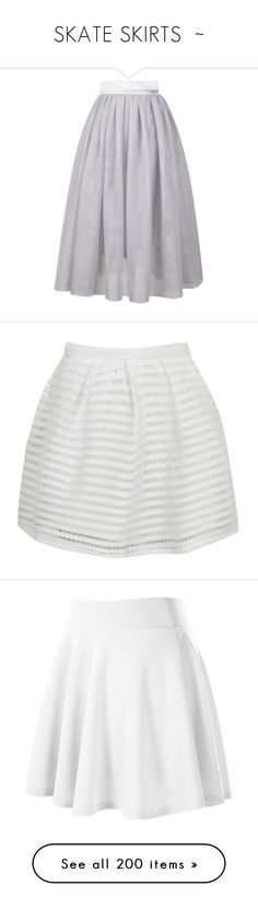 """""""SKATE SKIRTS  ~"""" by kuropirate on Polyvore featuring skirts, grey, gray skater skirt, gray tulle skirt, tulle skirt, gray skirt, grey tulle skirt, mini skirts, jupes and white"""