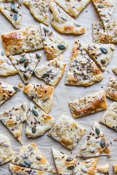 Easy Home Made Flatbread Crackers is part of Homemade flatbread crackers - Easy Seeded Flat Bread Crackers Completely versatile and simple to make Perfect for wine and cheese or with dip www saltedmint com Lunch Snacks, Snacks Für Party, Healthy Snacks, Healthy Recipes, Savory Snacks, Savoury Biscuits, Savoury Baking, Bread Baking, Wine And Cheese Party
