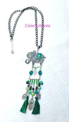 Collares largos - COLLAR AMULETO BOHO ELEFANTE CON BORLAS - hecho a mano por colorfulloves en DaWanda