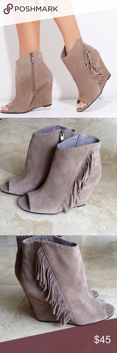 Fringe Peep Toe Tecca Booties NWOT Suede peep toe booties by Vince Camuto. Heel is 4 inches. Rubber sole. Side zippers. Suede uppers. Vince Camuto Shoes Ankle Boots & Booties
