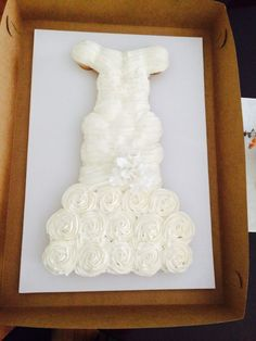 First attempt at a wedding dress cupcake cake - Jessica's bridal shower!