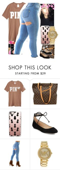 """""""Untitled #163"""" by asiaanicolee ❤ liked on Polyvore featuring Victoria's Secret, Louis Vuitton, Casetify, Karl Lagerfeld and Michael Kors"""