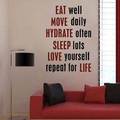 "Wall Decal Words Motivation Fitness Eat Well Sleep Love  33""h X 22""w on Etsy, $35.00"