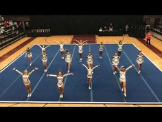 Carrollton High School Place at Northgate High School Competition *Fun Rock & Roll theme! Cool Cheer Stunts, Cheer Jumps, Cheerleading Videos, College Cheerleading, All Star Cheer, Good Cheer, Cheer Pyramids, Cheer Dance Routines, Basketball Cheers