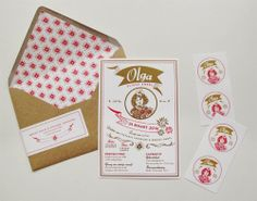 Vintage birth announcement with #gold by Mino Paper Sweets