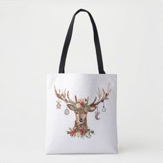 Rustic Christmas Reindeer Antler Ornaments Tote Bag Custom Tote Bags, Personalized Tote Bags, Reindeer Antlers, Edge Design, Christmas Card Holders, Rustic Christmas, Reusable Tote Bags, Ornaments, Classic