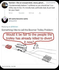 I put this here solely because of the trolley problem Haha, Faith In Humanity, Humor, Text Posts, Thing 1, Social Justice, Feminism, Equality, Just In Case