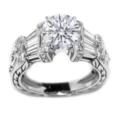 Round Diamond Vintage Heirloom Engagement Ring