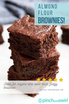 An easy recipe for thick, fudgy Almond Flour Brownies! Pro tips for getting time perfect every time! Naturally gluten free with options for making them paleo or vegan.