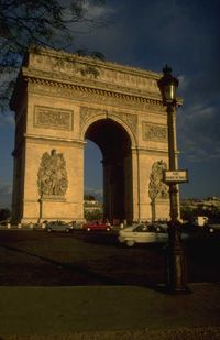 Arc de Trimphe, Paris France.  Right in the middle of a traffic Circle on the Champs-Elysees.  ~Klasko