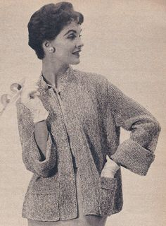 Vintage Comfortable Cuffed Jacket Knitting Pattern