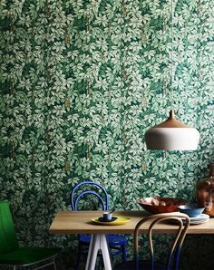 Sharyn Cairns » Still Life - I like the idea of one dark feature wall with a pattern like this in either a deep green or deep rich blue.