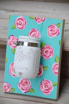 Repurposed blue mason jar decor / Lilly Pulitzer inspired wall organizer / pink shabby chic mason jar wall hanging