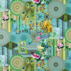 Cotton Éléphant indien - turquoise