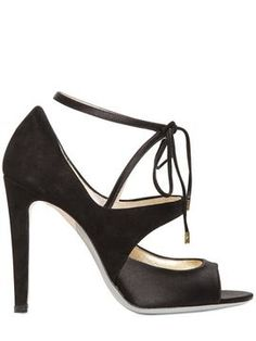 Giorgio Armani 100mm Suede And Satin Sandals