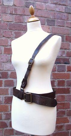 Vintage British military brown leather Sam Browne belt