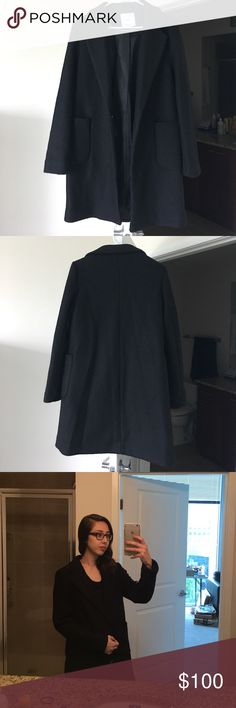 """Mango Pocketed Wool Coat Sold out! Lining, lapels, unstructured design, long sleeved with a buttoned front. Length: 34.5"""". Perfect condition, new without tag. 60% polyester, 40% wool. True to size. Final price. Mango Jackets & Coats"""