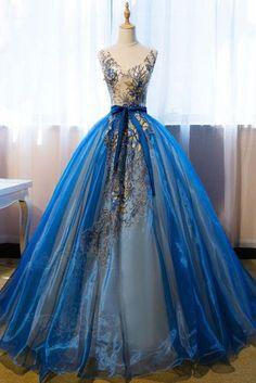 Chic A-line V-neck Blue Organza Applique Modest Prom Dress Evening Dress AM480 #dressesforteens