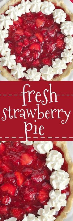 Fresh strawberry pie is loaded with lots of fresh strawberries covered in an easy, homemade strawberry gelatin. No Jell-O mixes required! Serve with some freshly whipped cream and you have a lighter dessert that is perfect for summer! Fresh Strawberry Pie, Strawberry Desserts, Köstliche Desserts, Best Dessert Recipes, Fruit Recipes, Sweet Recipes, Delicious Desserts, Pie Recipes, Sweets