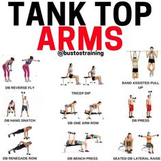 Tank top arms - 🕹This is how you will set this up in a workout. Do 3 sets of each one. Do reps of each one or on each side. Take as much rest as you want. Weight Training Workouts, Toning Workouts, At Home Workouts, Gym Workouts For Women, Upper Body Strength Workout, Upper Body Hiit Workouts, Men Exercise, Arm Exercises, Circuit Training